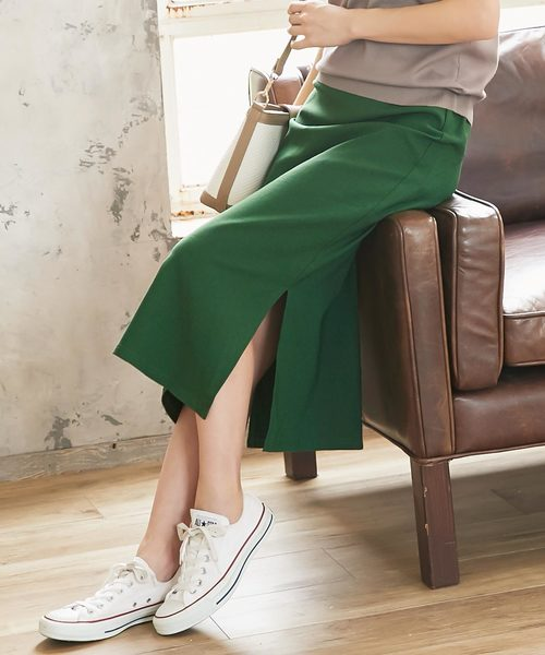 KOBE LETTUCE(コウベレタス)の「動けるスーパーストレッチサイドスリットタイトスカート(スカート)」|グリーン
