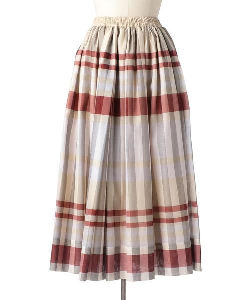 Drawer ブロックチェックロングスカート