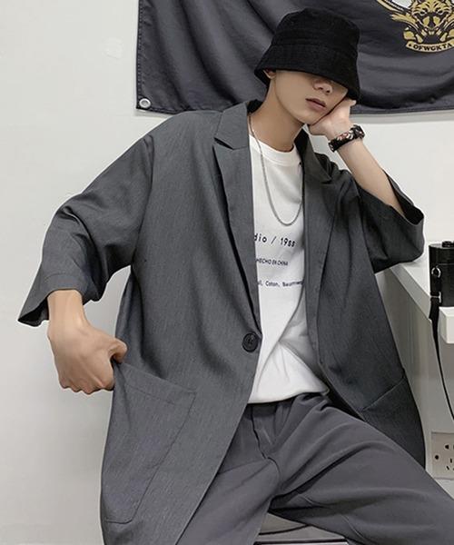七分袖 ラペルシャツジャケット テーラードシャツ
