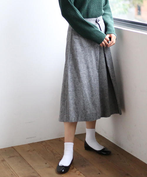 【手洗いできる】ウォッシャブルウール混タックフレアスカート
