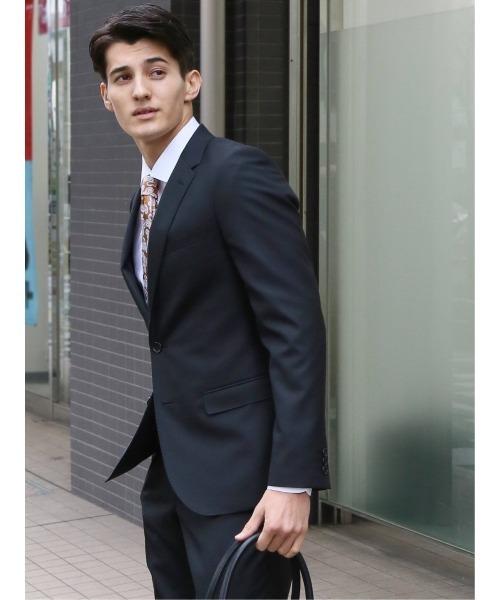 エムエフエディトリアルメンズ/m.f.editorial:MEN ストレッチ光沢ウール混ジャガード黒スリムフィット2釦2ピースビジネスセットアップスーツ