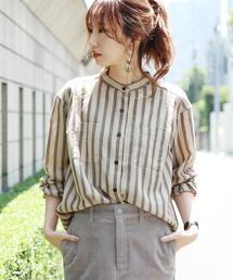 【WEB限定】アムンゼンバンドカラーストライプシャツ