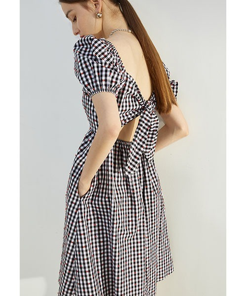 【Fano Studios】【2021SS】Gingham check ribbon dress FX21L001