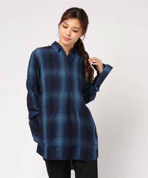 デジタルチェックポロ衿シャツ・ブラウス