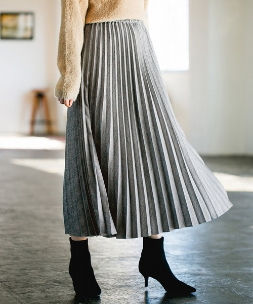 apart by lowrys(アパートバイローリーズ)の「TRチェックプリーツスカート 821357(スカート)」|グレー系その他