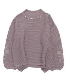 axes femme(アクシーズファム)の袖刺繍横リブニットプルオーバー(ニット/セーター)
