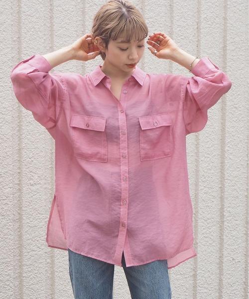 tiptop(ティップトップ)の「2020SS シアーBIGシャツ(シャツ/ブラウス)」|ピンク