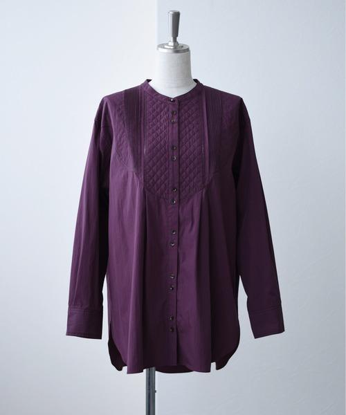 キルトステッチドレスシャツブラウス