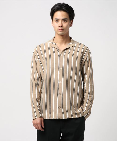 【LEON 5月号掲載】ESTNATION / ウォッシャブルストライプニットシャツ