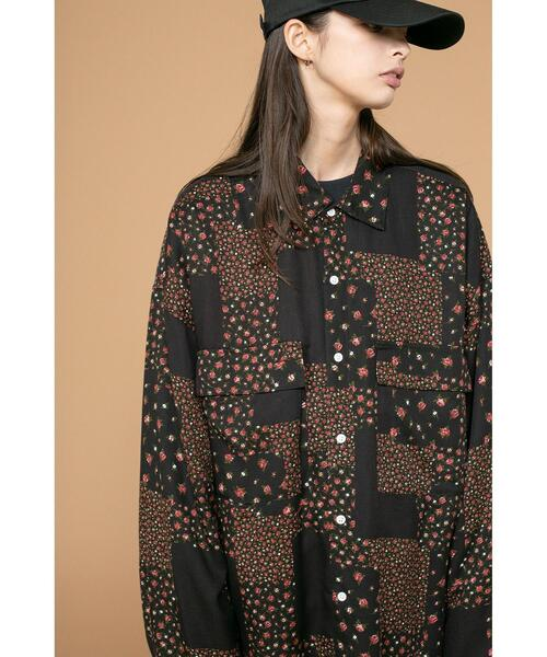 <monkey time> FLOWER PTC PRINT OVER SIZED RE/シャツ