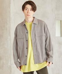 TRストレッチ スーツ地 オーバーサイズ CPO シャツ ジャケット/ドレープCPOシャツJKTグレー系その他