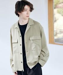 TRストレッチ スーツ地 オーバーサイズ CPO シャツ ジャケット/ドレープCPOシャツJKTグリーン系その他