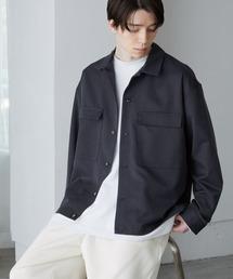 TRストレッチ スーツ地 オーバーサイズ CPO シャツ ジャケット/ドレープCPOシャツJKTネイビー