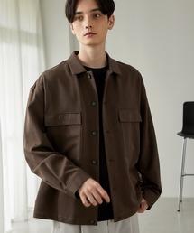 TRストレッチ スーツ地 オーバーサイズ CPO シャツ ジャケット/ドレープCPOシャツJKTブラウン