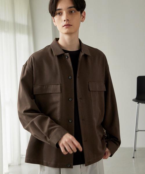 TRストレッチ スーツ地 オーバーサイズ CPO チェック シャツ ジャケット/ドレープCPOシャツJKT