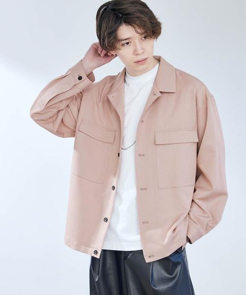 TRストレッチ スーツ地 オーバーサイズ ドレープ CPO シャツジャケット レギュラカラーシャツ -2021SPRING-