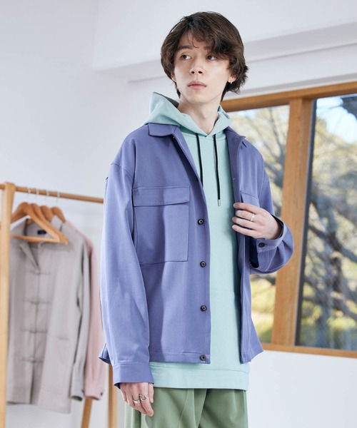 TRストレッチ スーツ地 オーバーサイズ ドレープ CPO シャツジャケット -2021SPRING-