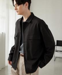 TRストレッチ スーツ地 オーバーサイズ CPO シャツ ジャケット/ドレープCPOシャツJKTブラック