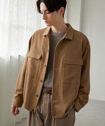 TRストレッチ スーツ地 オーバーサイズ CPO シャツ ジャケット/ドレープCPOシャツJKTモカ