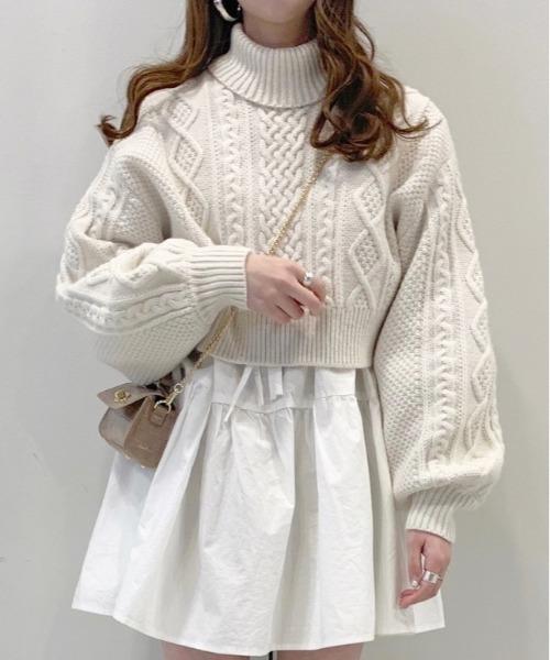 Heather(ヘザー)の「バックリボンタートルネックミニプルオーバー_918039(ニット/セーター)」|ホワイト