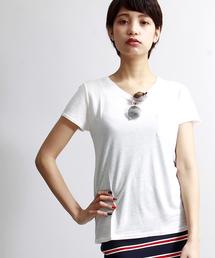 WEGO(ウィゴー)のWEGO/リネンモダールUネックTシャツ(Tシャツ/カットソー)