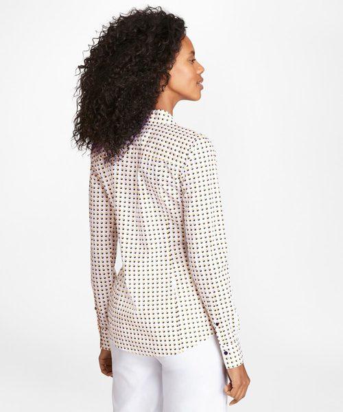 コットンサテン スモールダブルドットプリント スパゴカラー ドレスシャツ Fitted Fit