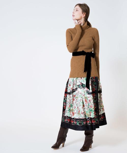 【残りわずか】 ヴィンテージスカーフギャザースカート, キャラクター雑貨CHERICO de9f49d1
