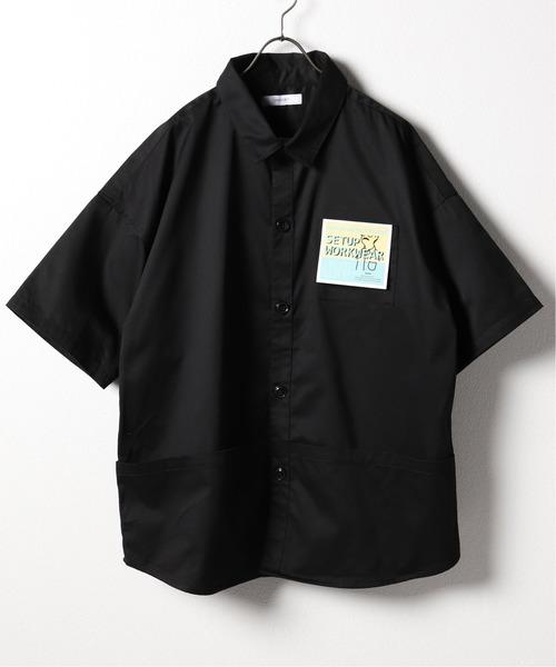 B.C STOCK(ベーセーストック)の「COLORED ツイルルーズシャツ(シャツ/ブラウス)」|ブラック