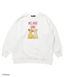 【Disney/ディズニー/ライオンキング/シンバとナラ】裏毛プルオーバーホワイト