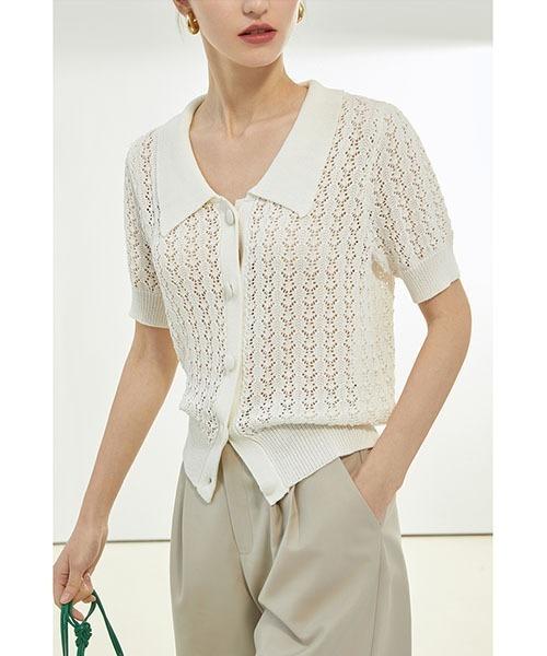 【Fano Studios】【2021SS】White collar crochet cardigan FX21S073