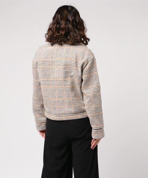 襟袖ボアグレンチェック釦ジャケット