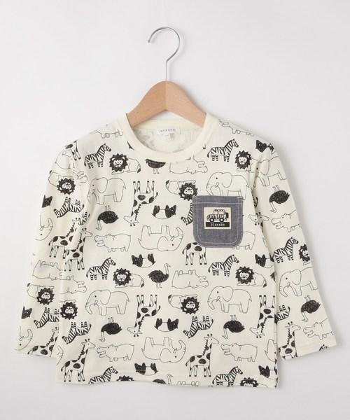 どうぶつ総柄長袖Tシャツ