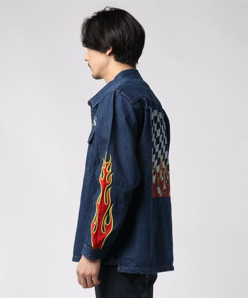 VANS ヴァンズ Checker Flame DNM Shirt Jacket ジャケット VA19SS-MJ09 INDIGO
