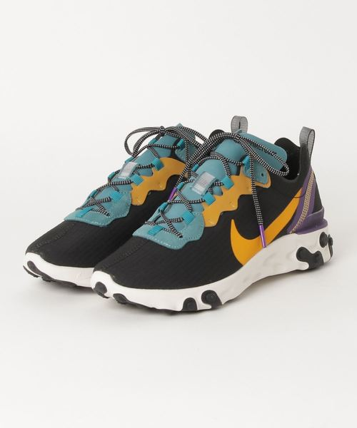 NIKE(ナイキ)の「NIKE ナイキ NIKE REACT ELEMENT 55 PRM CI9593-002 BLACK/POLLEN RISE-MINERAL TEAL(スニーカー)」|ブラック×グリーン