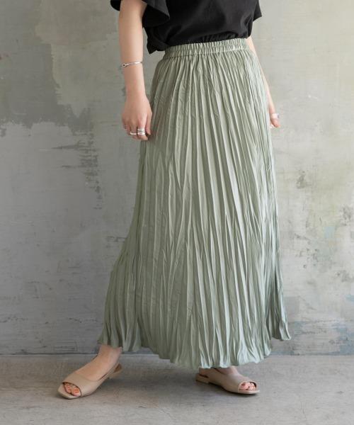 LOWRYS FARM(ローリーズファーム)の「ワッシャープリーツスカート 886093(スカート)」|カーキ