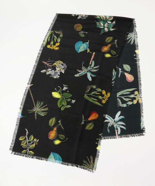 CABaN シルク ボタニカルスモールスカーフ