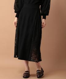 mysty woman(ミスティウーマン)の脇レース切り替えスカート 854663(スカート)