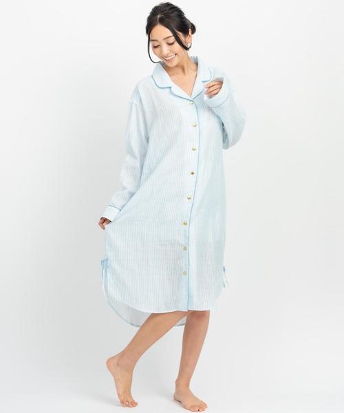 soft-gauze-clothパジャマシャツ長袖ワンピース(パステルストライプ)