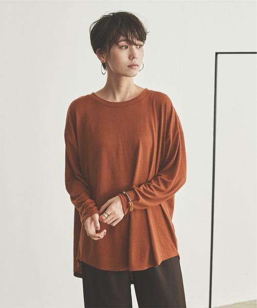 titivate(ティティベイト)の「ワッシャー風シャーリングカットソートップス(Tシャツ/カットソー)」|ブラウン