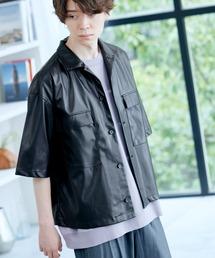 シンセティックレザー オーバーサイズ 1/2 sleeve CPOシャツ 2021SUMMERブラック