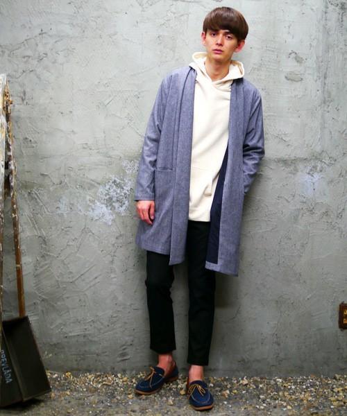 【Revo.】T/Rリターンカラー杢織りガウンコート