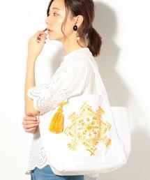 【Market】エンブロイダリー刺繍トートバッグ Mサイズ