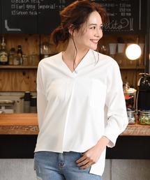 Luz Llena(ラズレナ)の厚手ジョーゼット10分袖スキッパーシャツ(シャツ/ブラウス)