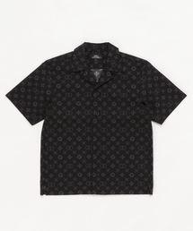 MONOGRAM柄 オープンカラーシャツ【L】ブラック系その他