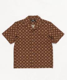 MONOGRAM柄 オープンカラーシャツ【L】ブラウン系その他