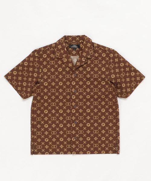 MONOGRAM柄 オープンカラーシャツ【L】