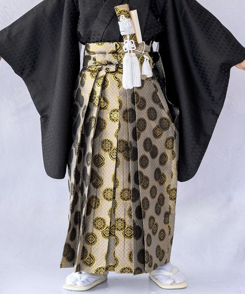 袴小物セット 七五三用 5歳用 7点セット(袴、角帯、懐剣、雪駄、羽織紐、お守り、白扇子)