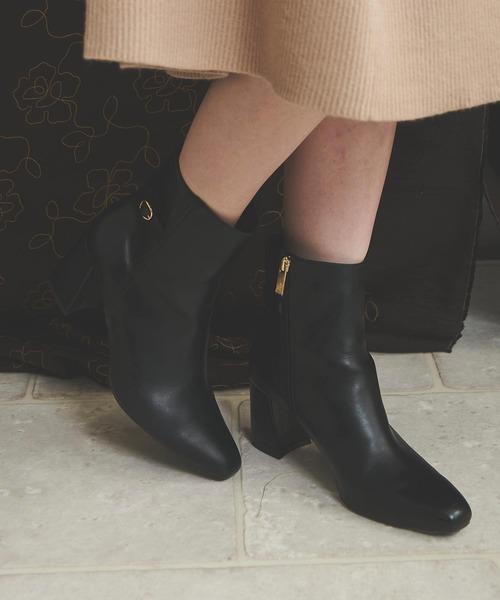 Noela(ノエラ)の「スクエアトゥブーツ(ブーツ)」|ブラック