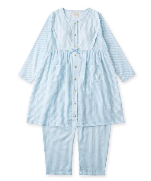 soft-gauze-clothマタニティチュニックセット長袖上下·(花柄·パステルストライプ)