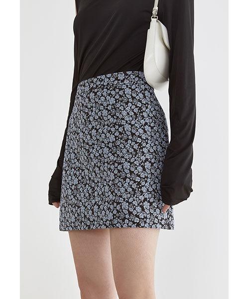 【Fano Studios】【2021SS】Blue jacquard high waist skirt FX21B007